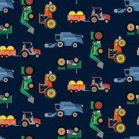 Cotton Jersey Fabric Tractors Navy
