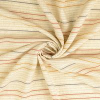 Viscose Linen Mix Natural Coloured Stripes