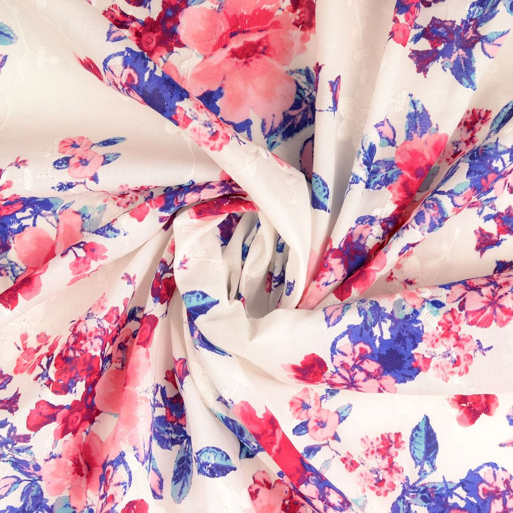 Broderie Anglaise Cotton Fabric Florals