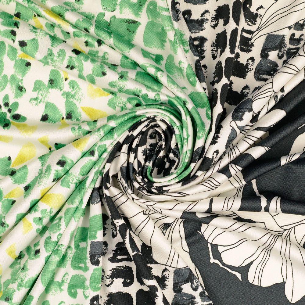 Jersey Fabric Polyester Border Print Green/Black