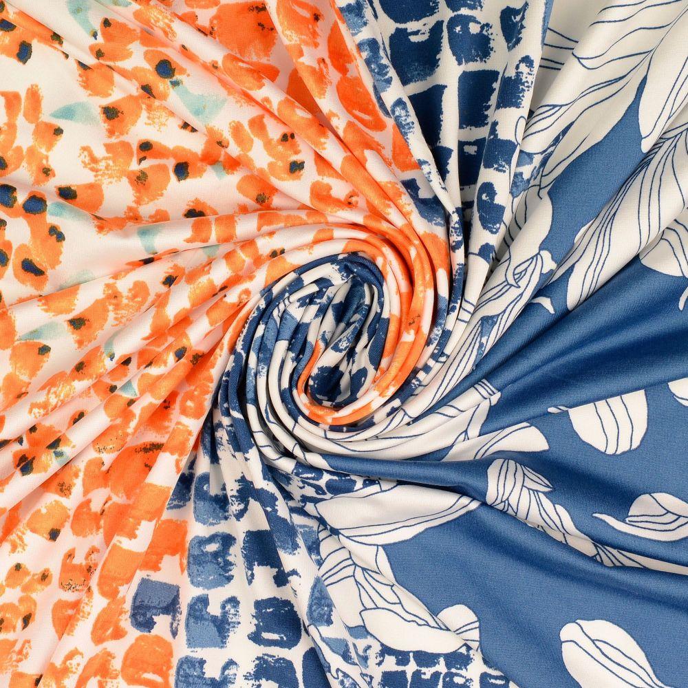 Jersey Fabric Polyester Border Print Orange/Blue
