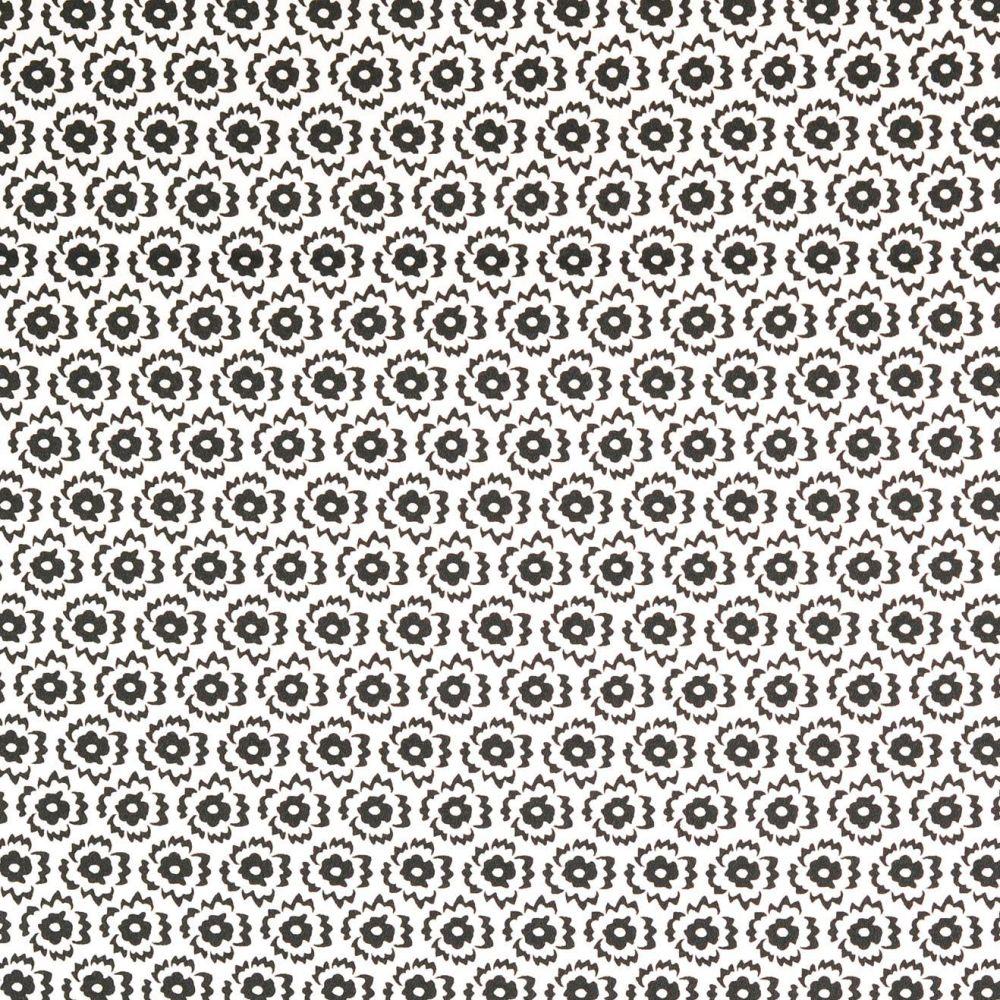 Lightweight Cotton Sateen Fabric Black/ White