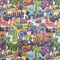 Indigo Cotton Fabric Tropical Graffiti