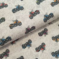 Indigo Cotton Fabric Motor Bikes