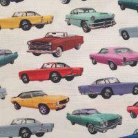 Indigo Cotton Fabric American Cars