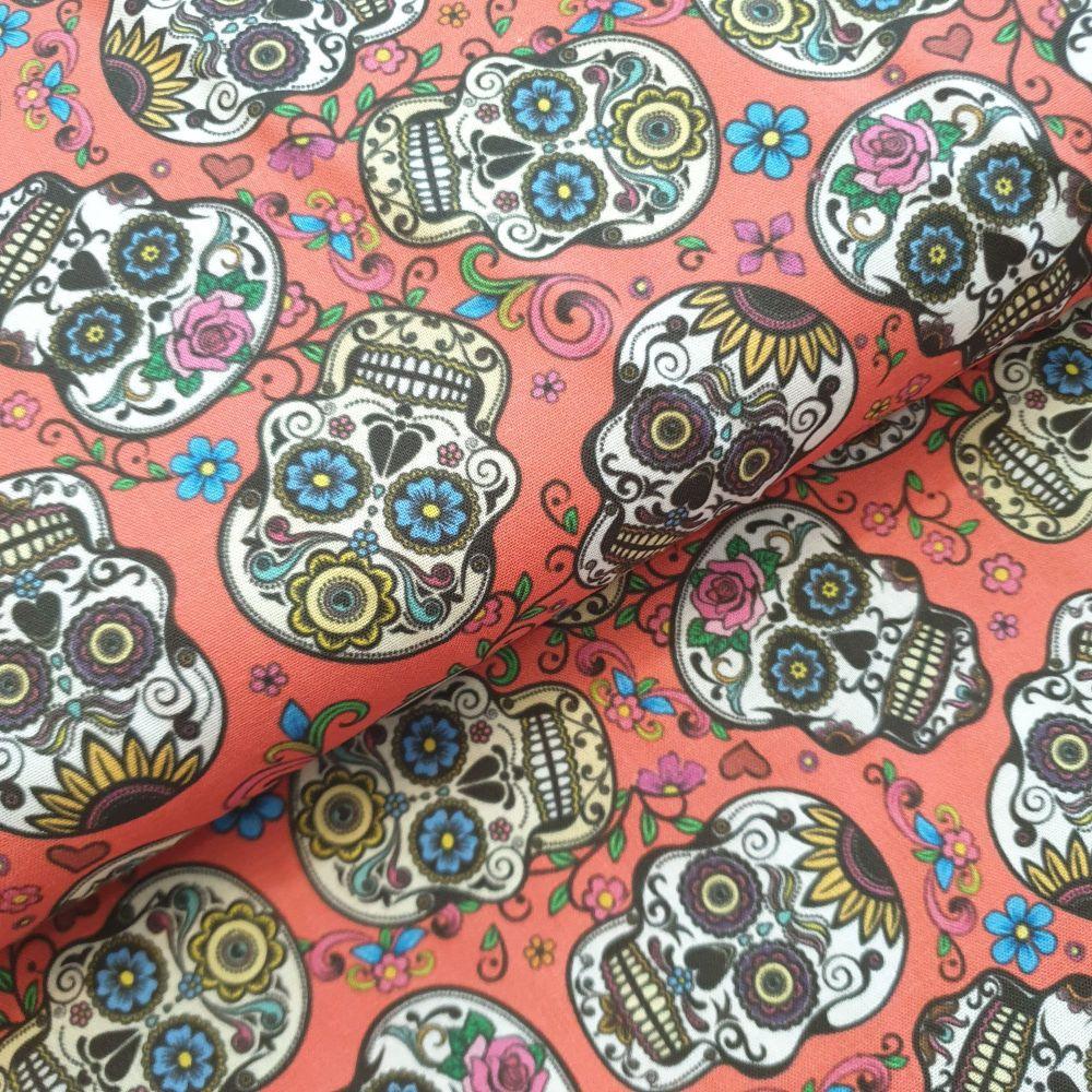 Indigo Cotton Fabric Sugar skulls Red