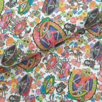 Indigo Cotton Fabric Mexican Skeletons