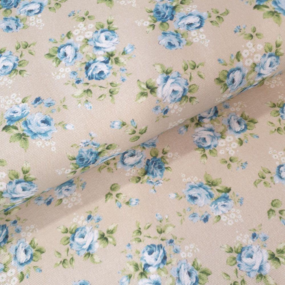 Indigo Cotton Canvas Fabric Vintage Rose Blue on Natural