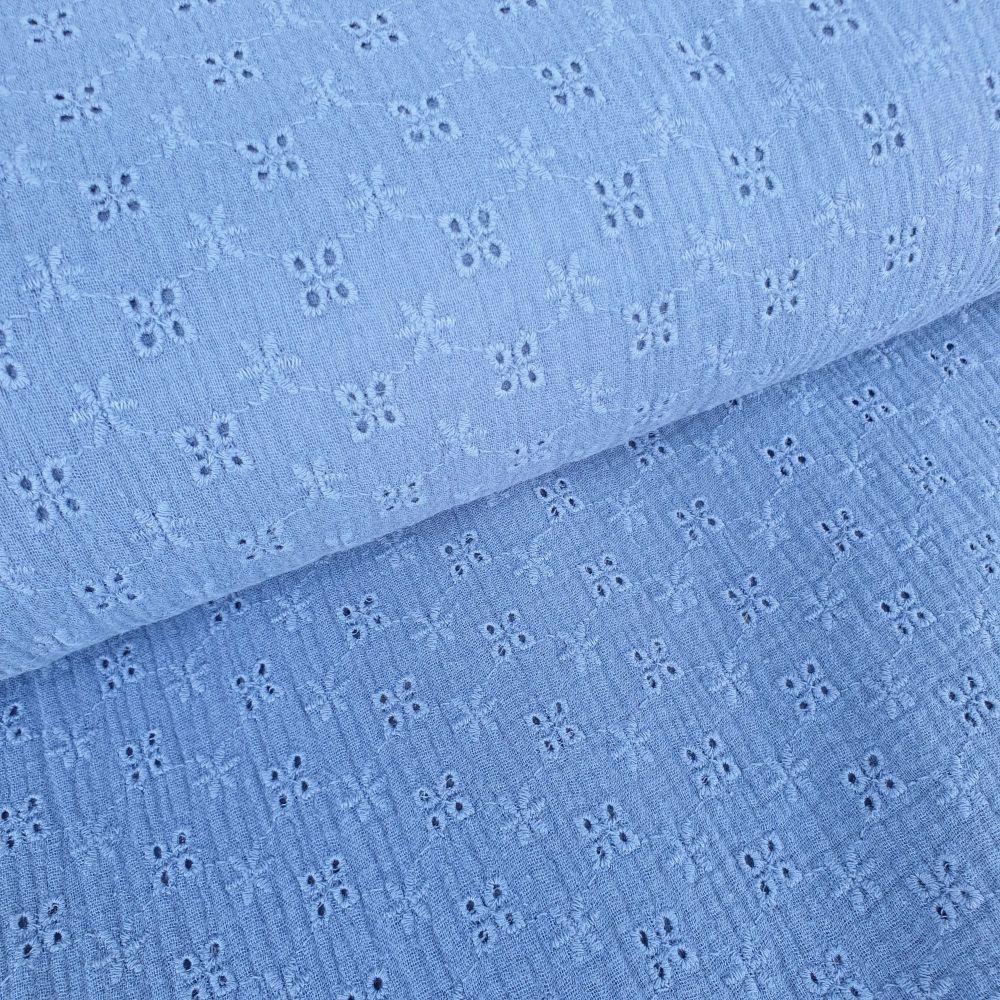 Broderie Anglaise Cotton Fabric Dusky Blue