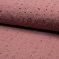 Broderie Anglaise Cotton Fabric Old Pink