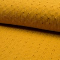 Broderie Anglaise Cotton Fabric Ochre