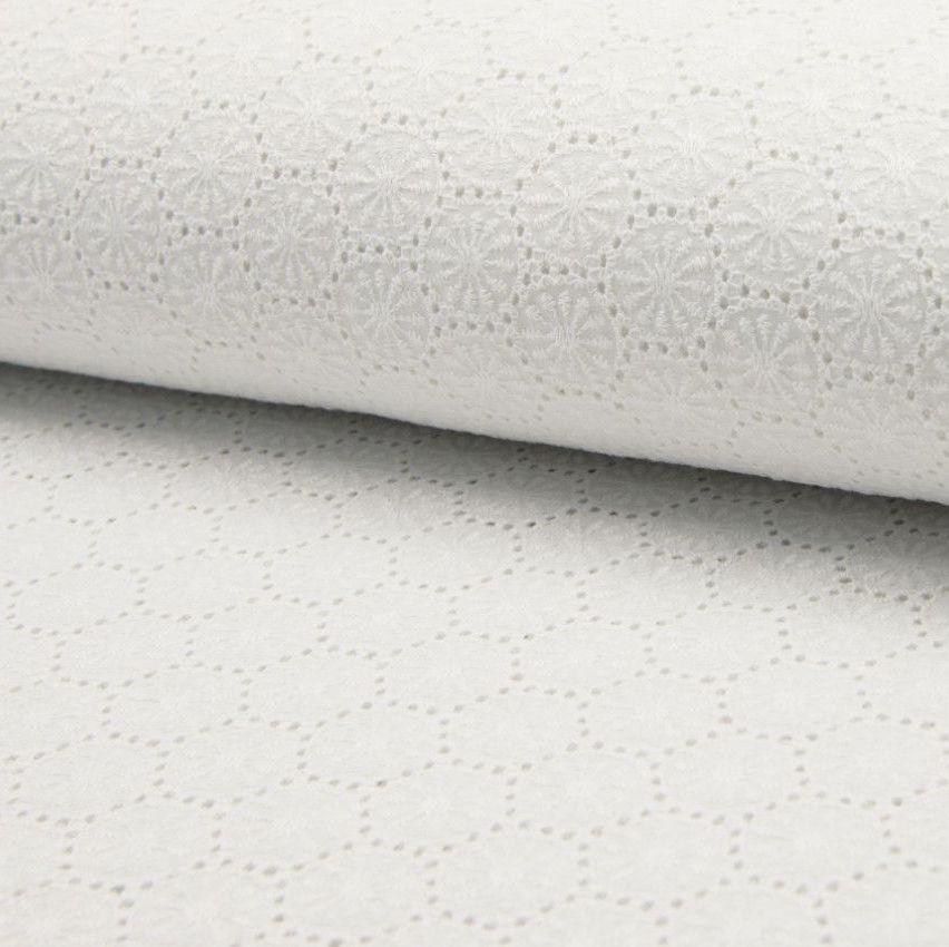Broderie Anglaise Cotton Fabric Sun Burst White