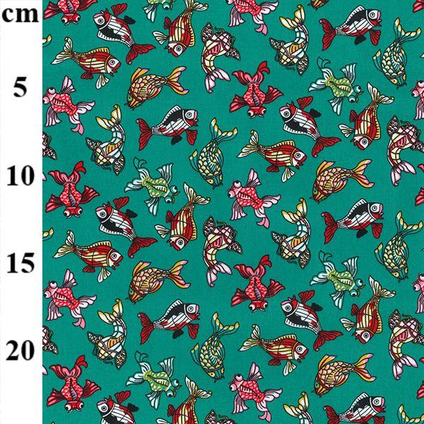 Cotton Poplin Fabric Funky Fish Jade