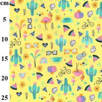 Cotton Poplin Fabric Holiday Vibes Yellow