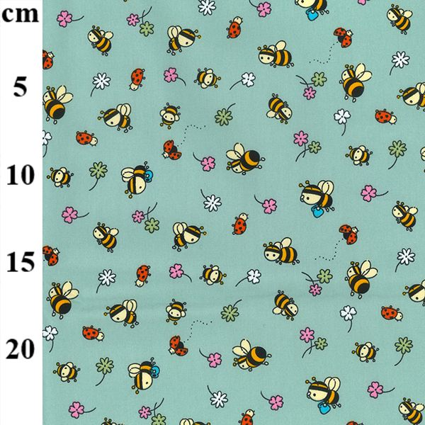 Cotton Poplin Fabric Bugs and Bees