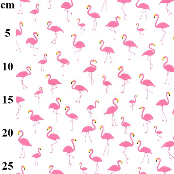 Cotton Poplin Fabric Flamingos On Ivory