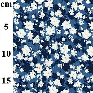 Cotton Poplin Fabric Flowers Navy