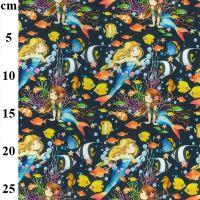Cotton Fabric Mermaids Under The Sea