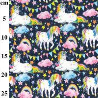 Cotton Fabric Rainbow Unicorns