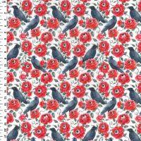 Cotton Fabric Black Birds