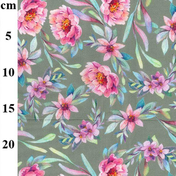 Cotton Lawn Florals Light Khaki