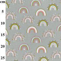 Flannel Cotton Fabric Rainbows Grey