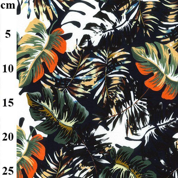 Viscose Jersey Tropical Leaves Black