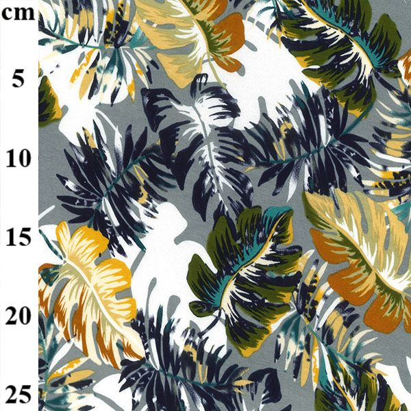 Viscose Jersey Fabric Tropical Leaves Grey