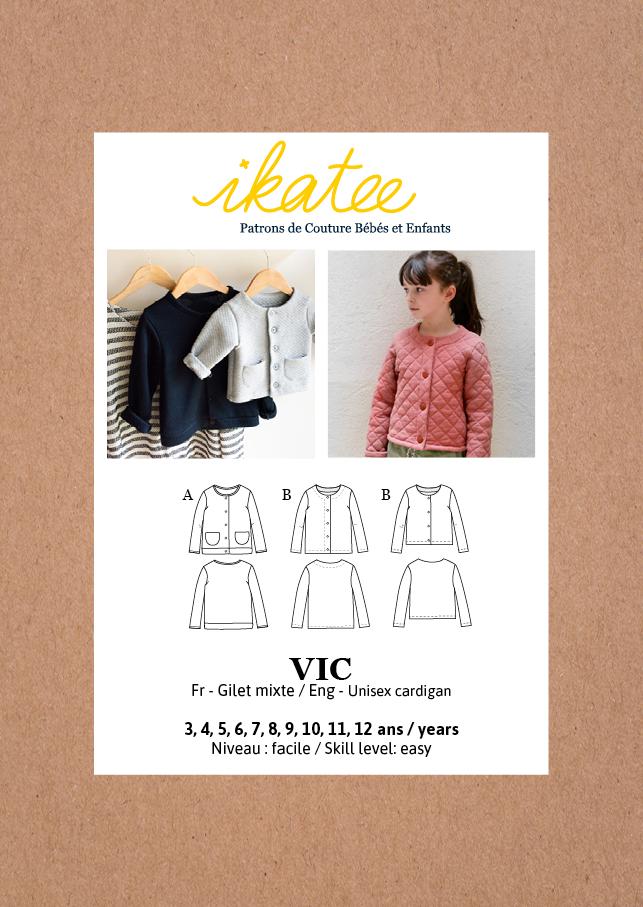 Ikatee Sewing Pattern Kids 3/12Y  Vic Unisex Cardigan