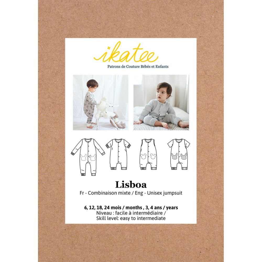 Ikatee Sewing Pattern Baby 6M/4Y Lisboa Jumpsuit / Playsuit