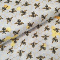 Little Johnny Cotton Fabric Busy Bees Silver