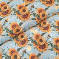 Little Johnny Cotton Fabric Honeycomb Bees & Sunflowers
