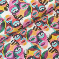 Little Johnny Cotton Fabric Abstract Painted Faces