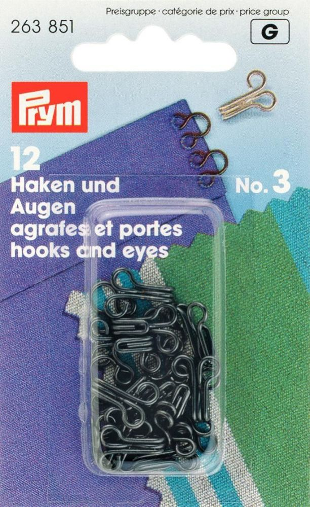Prym Hook & Eyes Black