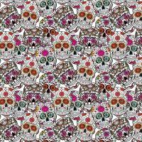 Cotton Fabric Sugar Skulls White