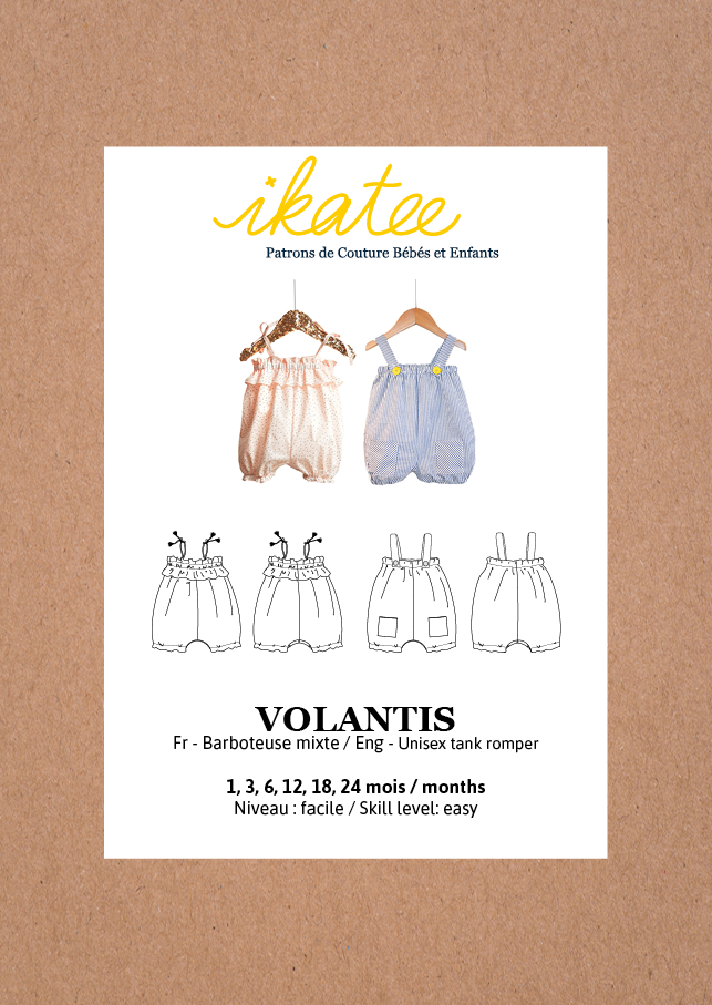 Ikatee Sewing Pattern Baby 6M/4Y Volantis Tank Rompers