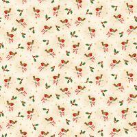 Makower Christmas Cotton Fabric Classic Robin Cream