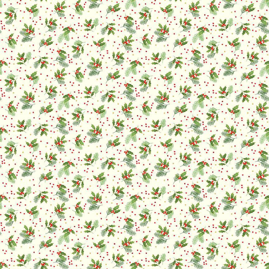 Makower Christmas Cotton Fabric Classic Holly Spray Cream