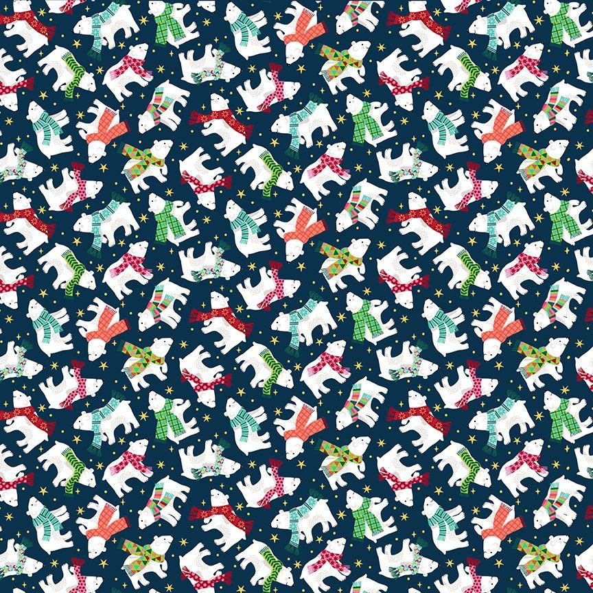 Makower Christmas Cotton Fabric Santa Express Polar Bear Navy