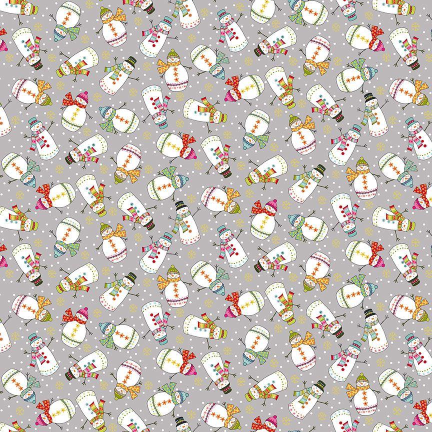 Makower Christmas Cotton Fabric Santa Express Snowman Grey