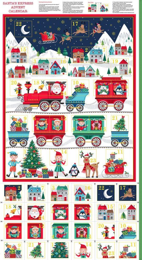 Makower Christmas Santa Express Advent Calendar Panel
