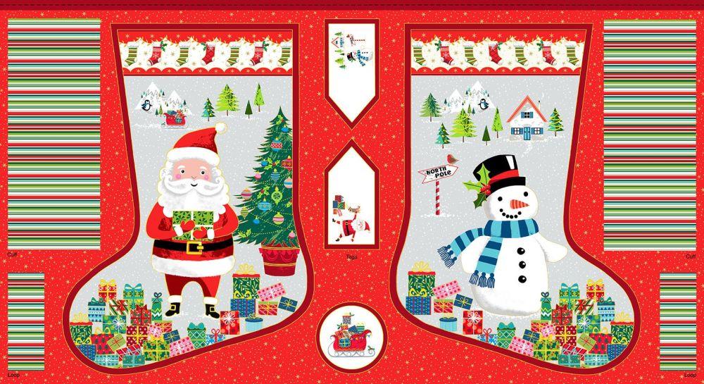 Makower Christmas Santa Express Stocking Panel
