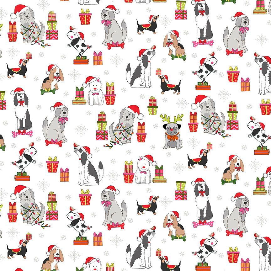 Makower Christmas Cotton Fabric Yappy Dog Scatter Cream