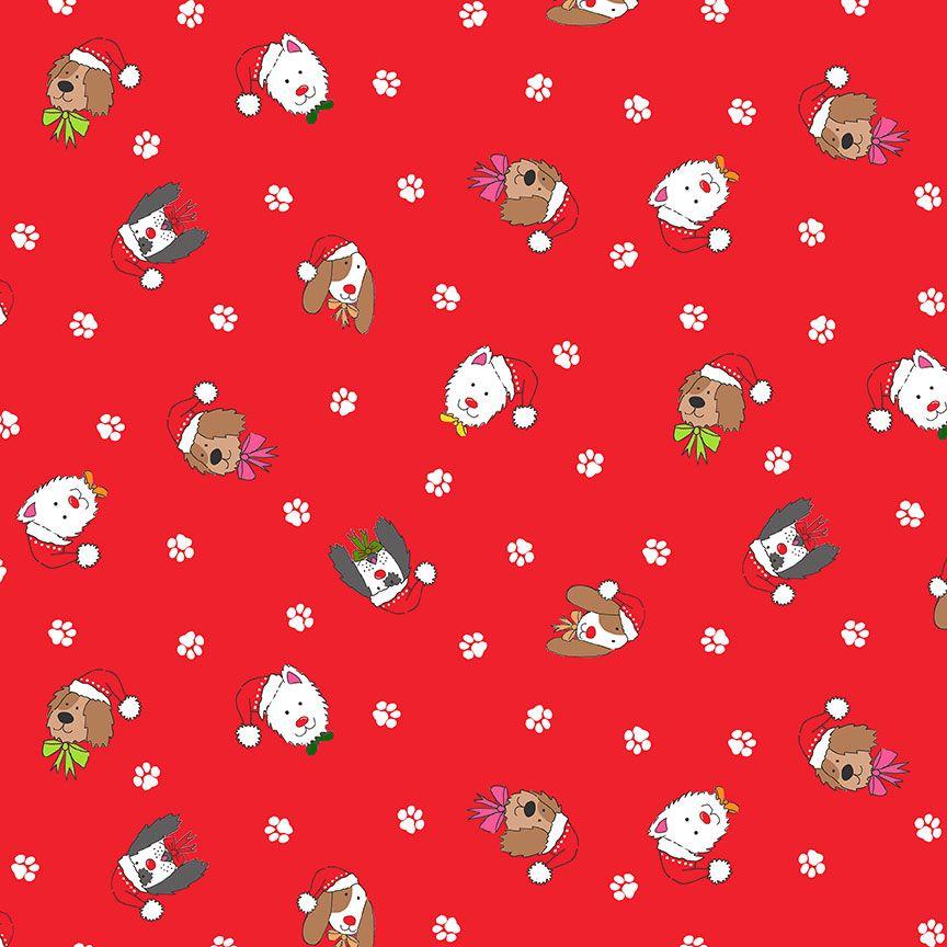 Makower Christmas Cotton Fabric Yappy Dog Heads Red