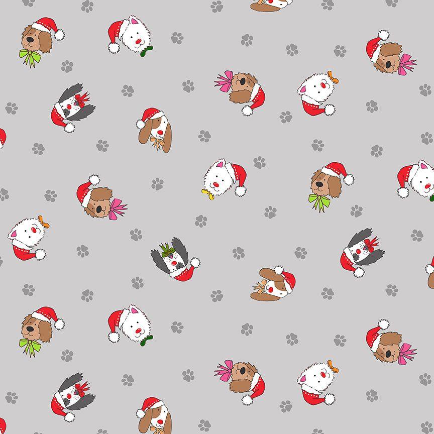 Makower Christmas Cotton Fabric Yappy Dog Heads Grey