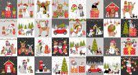 Makower Christmas Cotton Fabric Yappy Dog Blocks Panel