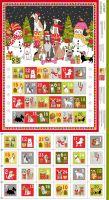 Makower Christmas Cotton Fabric Yappy Dog Advent Calendar Panel
