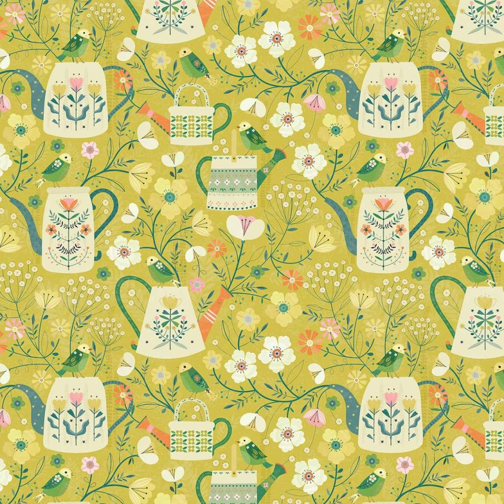 Dashwood Studio Cotton Fabric Hedgerow Watering Can