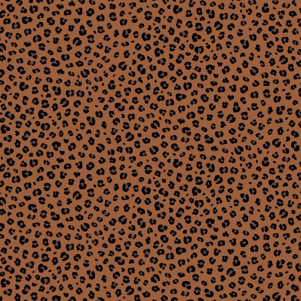 Cotton Poplin Fabric Leopard Print Rust