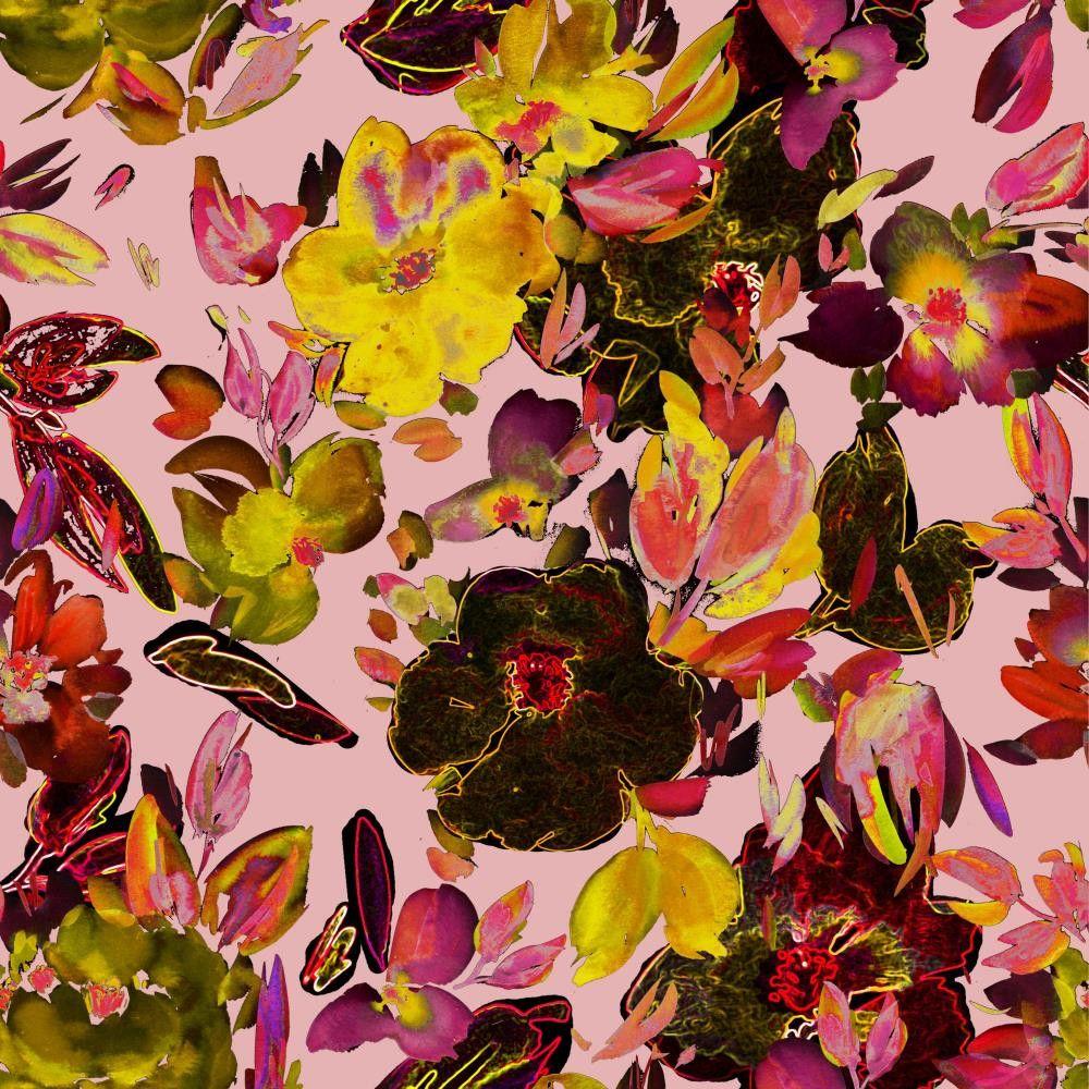 Cotton Poplin Fabric Flowers Rose